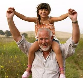 Elderly man, child on shoulders